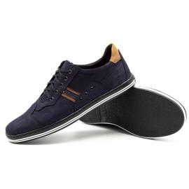 Polbut Men's casual shoes 1801 navy blue nubuck / camel multicolored 4