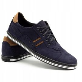 Polbut Men's casual shoes 1801 navy blue nubuck / camel multicolored 5