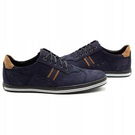 Polbut Men's casual shoes 1801 navy blue nubuck / camel multicolored 6