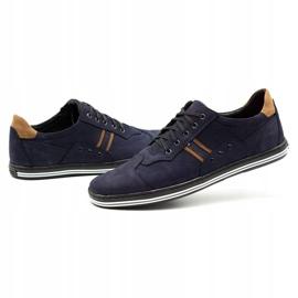 Polbut Men's casual shoes 1801 navy blue nubuck / camel multicolored 7