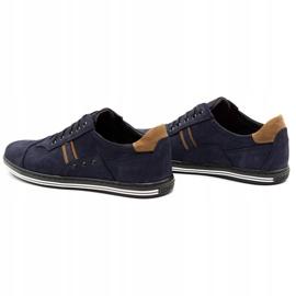 Polbut Men's casual shoes 1801 navy blue nubuck / camel multicolored 8