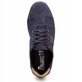 Polbut Men's casual shoes 1801 navy blue nubuck / camel multicolored 9
