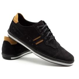 Polbut Casual men's shoes 1801 black nubuck / camel 6