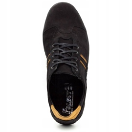 Polbut Casual men's shoes 1801 black nubuck / camel 10