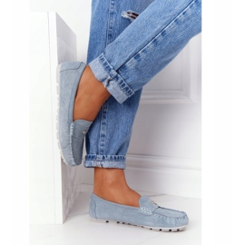S.Barski Women's Suede Loafers S. Barski Blue 5