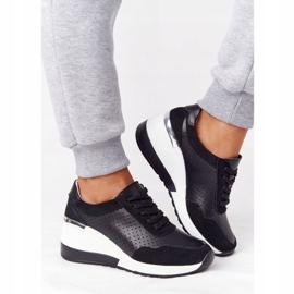 S.Barski Openwork Leather Wedge Sneakers S. Bararski Black white 2
