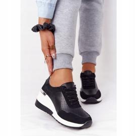 S.Barski Openwork Leather Wedge Sneakers S. Bararski Black white 1