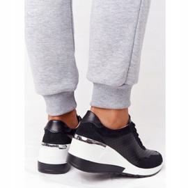 S.Barski Openwork Leather Wedge Sneakers S. Bararski Black white 3