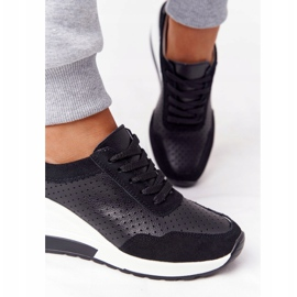 S.Barski Openwork Leather Wedge Sneakers S. Bararski Black white 4