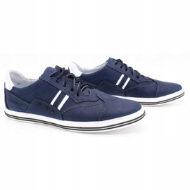 Polbut Men's casual shoes 1801 navy blue with white multicolored 2