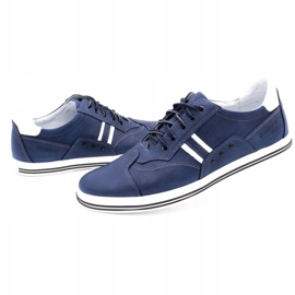 Polbut Men's casual shoes 1801 navy blue with white multicolored 6