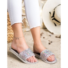 SHELOVET Super sequin slippers colorless silver 1