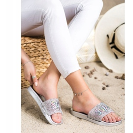 SHELOVET Super sequin slippers colorless silver 2