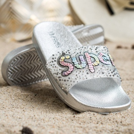 SHELOVET Super sequin slippers colorless silver 3