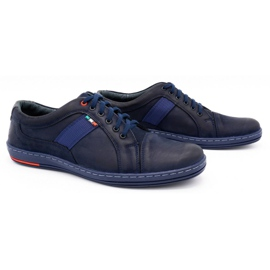 Olivier Men's leather casual shoes 238GT navy blue 4