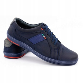 Olivier Men's leather casual shoes 238GT navy blue 6