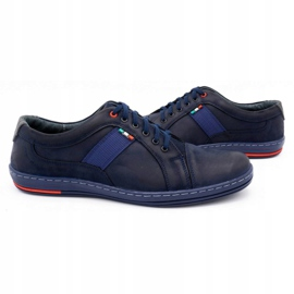 Olivier Men's leather casual shoes 238GT navy blue 7