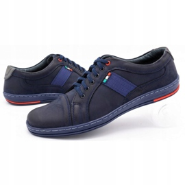 Olivier Men's leather casual shoes 238GT navy blue 8
