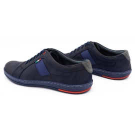 Olivier Men's leather casual shoes 238GT navy blue 9