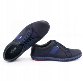 Olivier Men's leather casual shoes 238GT navy blue 2