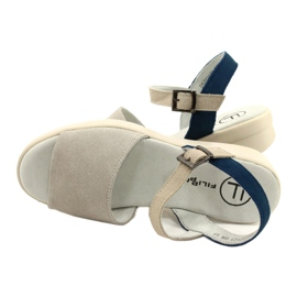 Comfortable Sandals Leather Filippo DS2021 / 21 GR blue grey 3