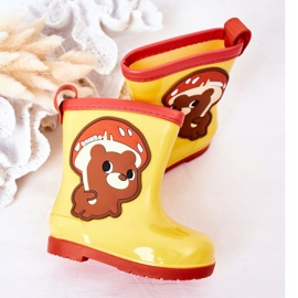 Children's Yellow Galoshes With A Teddy Bear 1