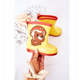 Children's Yellow Galoshes With A Teddy Bear 3