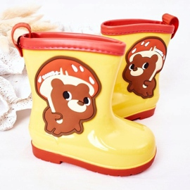Children's Yellow Galoshes With A Teddy Bear 4