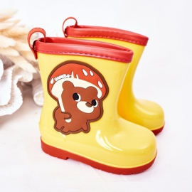 Children's Yellow Galoshes With A Teddy Bear 2
