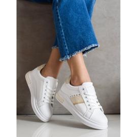 SHELOVET Casual Sneakers white golden 2