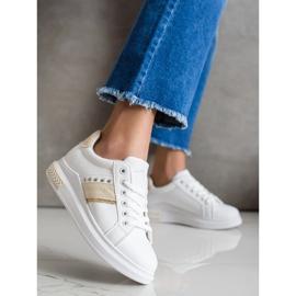 SHELOVET Casual Sneakers white golden 3