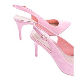 Pink eco suede pumps on Donna belt 2