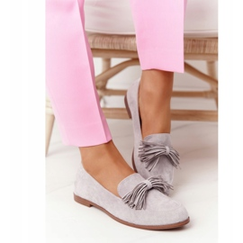 EVE Fringed Suede Loafers Gray Alicante grey 3