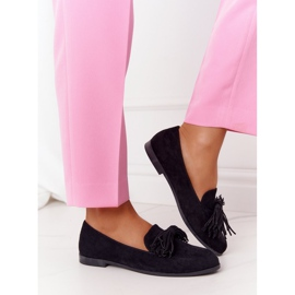 EVE Fringed Suede Loafers Black Alicante 1