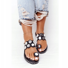 PS1 Eco-leather Slippers With Rhinestones Black Ava 3