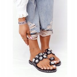 PS1 Eco-leather Slippers With Rhinestones Black Ava 4