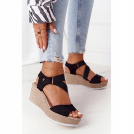 Leather Wedge Sandals Big Star FF276016 Black 1