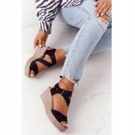 Leather Wedge Sandals Big Star FF276016 Black 4