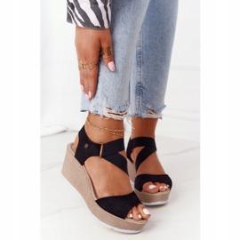 Leather Wedge Sandals Big Star FF276016 Black 2