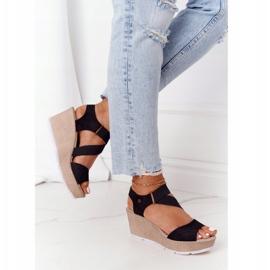 Leather Wedge Sandals Big Star FF276016 Black 3