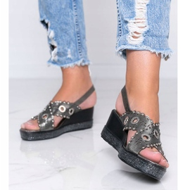 Gray metallic wedge sandals Mon grey 1