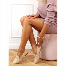 Ladies' beige loafers T391P Beige 2