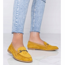 Mustard loafers made of Juliette eco-suede yellow 1
