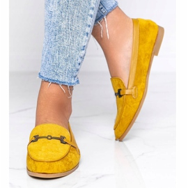 Mustard loafers made of Juliette eco-suede yellow 4