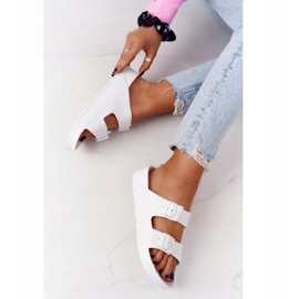 NEWS Women's White Stacy Rubber Slippers 6