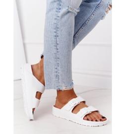 NEWS Women's White Stacy Rubber Slippers 3