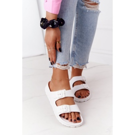 NEWS Women's White Stacy Rubber Slippers 4