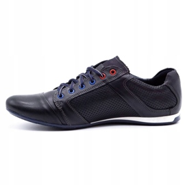 Lemar Men's leather shoes 882 dark navy blue grain 1