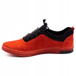 Polbut Men's leather casual shoes K24 red nubuck black 2