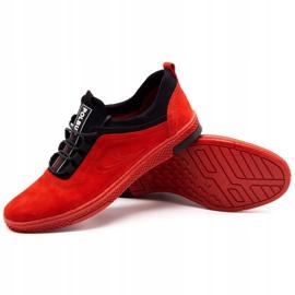 Polbut Men's leather casual shoes K24 red nubuck black 4
